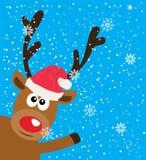 Cerfs communs drôles de vecteur en fond de Santa Red Hat Snowflake Christmas illustration libre de droits