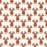 Cerfs communs drôles de hippie de vintage abstrait de Noël Illustration de Vecteur