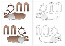 Cerfs communs du nord de jouet faits de papier Image stock