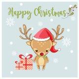 Cerfs communs et cadeau mignons heureux pour le festival de Noël illustration stock
