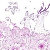 Cerfs communs et fleur Image stock