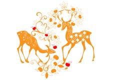 Cerfs communs et fleurs Image stock
