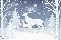 Cerfs communs marchant en hiver Forest Vector Illustration illustration de vecteur