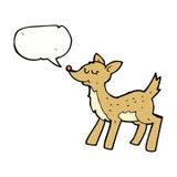 cerfs communs mignons de bande dessinée avec la bulle de la parole Photographie stock