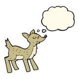 cerfs communs mignons de bande dessinée avec la bulle de pensée Image stock