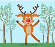 Cerfs communs mignons en Forest Cartoon Flat Vector illustration stock