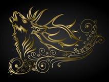 Cerfs communs ornementés d'or Photos libres de droits