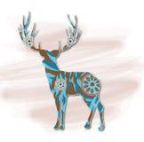 Cerfs communs, peinture décorative Illustration Stock