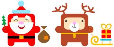cerfs communs Santa de dessin animé Illustration de Vecteur