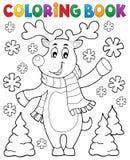 Cerfs communs stylisés de Noël de livre de coloriage Photos stock