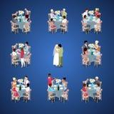 Cerimónia de casamento Apenas o casal dança primeiramente Os convidados estão comemorando em tabelas Ilustração 3d lisa isométric Imagem de Stock