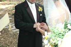 Cerimónia do anel de casamento Imagens de Stock Royalty Free