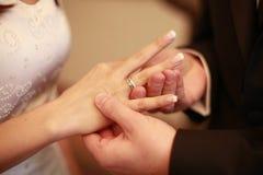 Cerimónia do anel de casamento Fotografia de Stock