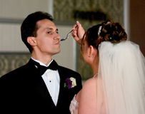 Cerimónia do bolo de casamento Fotografia de Stock
