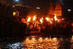 Cerimónia do puja da noite Imagem de Stock