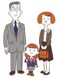 Cerimônia da entrada da escola, pai e menina da criança ilustração do vetor