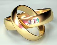 Cerimônia 2019 das alianças de casamento ilustração do vetor
