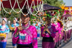 Cerimônia de inauguração 2017 de Chiang Mai Flower Festival do aniversário imagens de stock