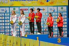 Cerimônia do vencedor, 2ò competiam da qualificação de FINA World Junior Diving Championships, Kiev, Ucrânia, Imagem de Stock Royalty Free