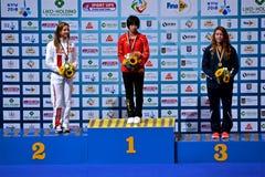 Cerimônia do vencedor, 2ò competiam da qualificação de FINA World Junior Diving Championships FINA Diving Youth Olympic Games, Imagem de Stock