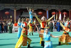 Cerimônia da celebração da montagem Taishan em China Fotos de Stock Royalty Free