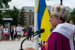 Cerimônia de aumentar a bandeira ucraniana Imagem de Stock