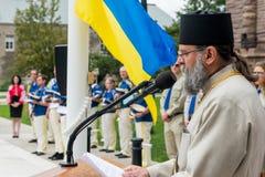 Cerimônia de aumentar a bandeira ucraniana Imagem de Stock Royalty Free