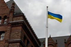 Cerimônia de aumentar a bandeira ucraniana Foto de Stock Royalty Free