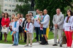 Cerimônia de aumentar a bandeira ucraniana Imagens de Stock Royalty Free