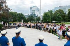 Cerimônia de aumentar a bandeira ucraniana Fotografia de Stock Royalty Free