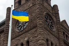 Cerimônia de aumentar a bandeira ucraniana Fotografia de Stock