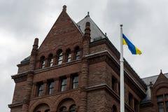 Cerimônia de aumentar a bandeira ucraniana Foto de Stock