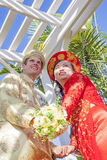 Cerimônia de casamento americana vietnamiana Fotos de Stock Royalty Free