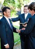Cerimônia de casamento entre homossexuais - anéis Fotografia de Stock Royalty Free