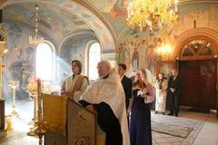 Cerimônia de casamento ortodoxo cristã Imagens de Stock