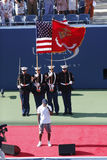 A cerimônia de inauguração antes do final das mulheres do US Open 2013 em Billie Jean King National Tennis Center Imagens de Stock Royalty Free