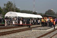 A cerimônia de transferência da locomotiva diesel-bonde à estrada de ferro do estado de Tailândia Foto de Stock Royalty Free