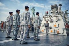 Cerimônia do aniversário da marinha oriental indonésia a K um Koarmatim em Surabaya, East Java, Indonésia imagens de stock