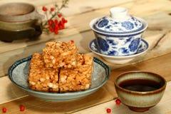 Cerimônia e bolo de chá chinesa Fotografia de Stock Royalty Free