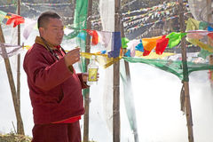 Cerimônia na passagem do La de Yutong, Butão Fotos de Stock Royalty Free