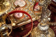 Cerimônia ortodoxo do casamento Fotografia de Stock Royalty Free