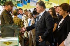 Cerimônias dedicadas ao dia da bandeira do estado de Ucrânia Fotografia de Stock
