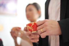 Cerimónia de chá do casamento do chinês tradicional Imagens de Stock