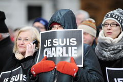 Cerimonia comemorativa junto contra o terror em Viena Fotos de Stock Royalty Free