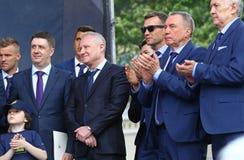 Cerimonia della partenza della squadra di football americano nazionale di Ukrai Immagine Stock