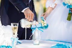 Cerimonia della sabbia di nozze Fotografia Stock Libera da Diritti