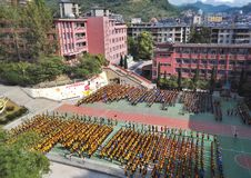 Cerimonia di apertura cinese della scuola secondaria Immagini Stock Libere da Diritti