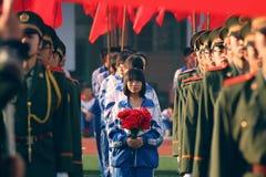 Cerimonia di apertura della riunione di sport, Tai-Yuan nessuna scuola secondaria 12 Fotografia Stock Libera da Diritti