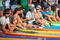 Cerimonia di apertura hawaiana tradizionale di Eddie Aikau Immagini Stock