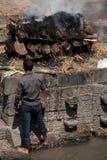 Cerimonia di cremazione al tempio di Pashupatinath Il Nepal, Kathmandu Immagine Stock Libera da Diritti